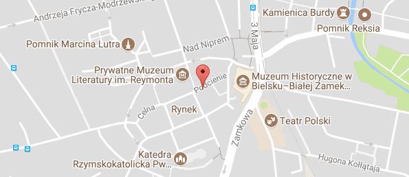 Mapka Psycholog Psychoterapeuta Bielsko Zamek_Rynek